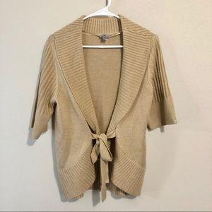 Worthington Lurex Tie Front Sweater